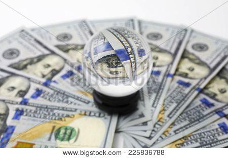 Group Of 100 Dollar Banknote Money Trough Crystalline Sphere