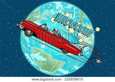 Astronaut In An Electric Car Over The Planet Earth. Pop Art Retro Vector Illustration Comic Cartoon