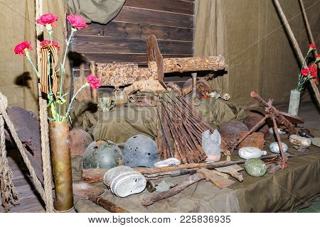 St. Petersburg, Russia - 7 May, Weapons And Items Collected From Combat Fields, 7 May, 2017. Exhibit