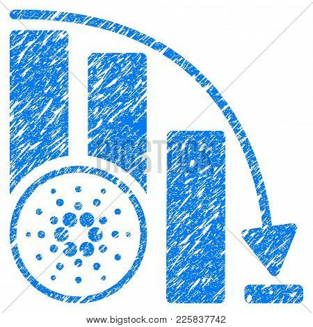 Grunge Cardano Fall Down Chart Rubber Seal Stamp Watermark. Icon Symbol With Grunge Design And Dust