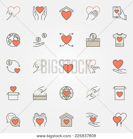 Donation And Charity Colored Icons Set. Vector Donate Creative Symbols Or Logo Elements