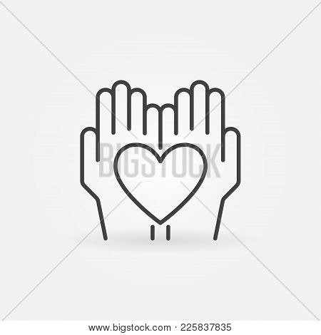 Heart In Hands Vector Icon Or Design Element In Thin Line Style