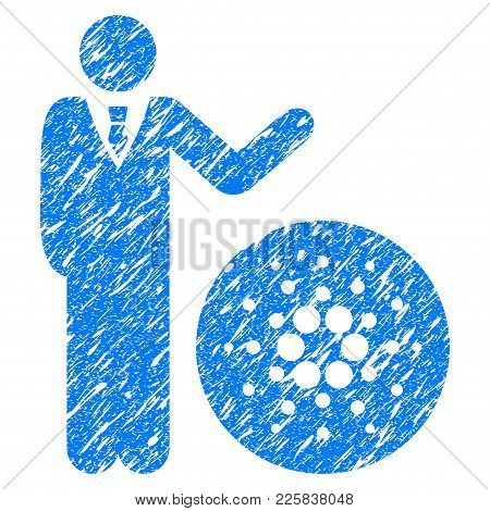 Grunge Businessman Show Cardano Rubber Seal Stamp Watermark. Icon Symbol With Grunge Design And Dirt