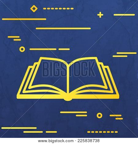 Flat Line Design Graphic Image Concept Of Open Book Icon On A Blue Vector Paper Layer Background