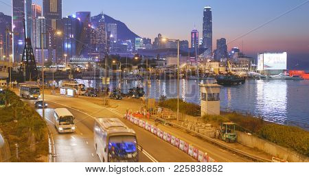 Causeway Bay, Hong Kong 14 January 2018:- Causeway Bay at sunset