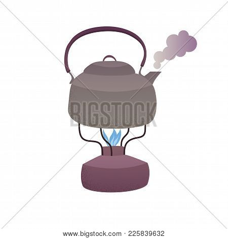 Boiling Steaming Metallic Kettle With Water On The Gas Burner Cartoon Vector Illustration