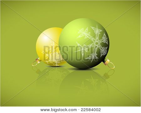 Christmas spheres with snowflakes ornaments on a green background