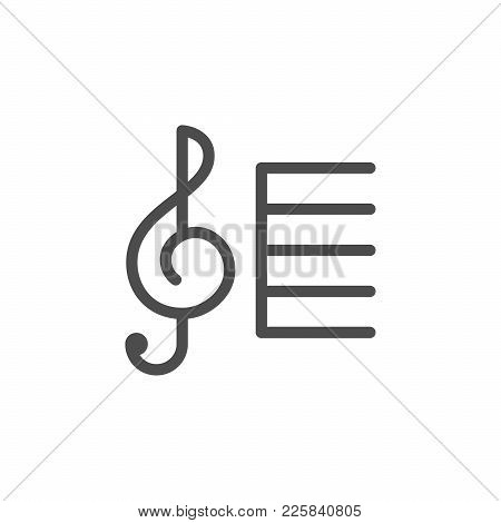 Treble Clef Line Icon Isolated On White. Vector Illustration
