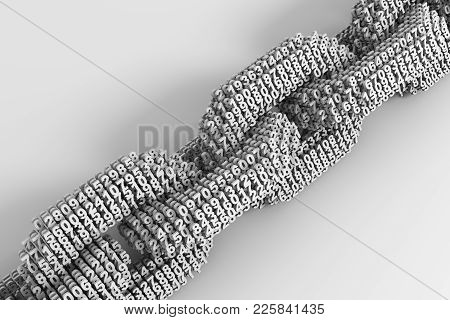 Concept Of Blockchain. Digital Chain Of Interconnected 3d Numbers. 3d Illustration.