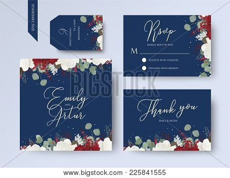 Wedding Floral Invite, Thank You, Rsvp Card Design Set With Red And White Garden Rose Flowers, Seede