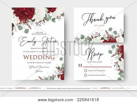 Wedding Floral Invite, Save The Date, Thank You, Rsvp Card Design With Red And White Garden Rose Flo