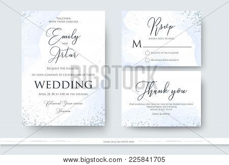 Wedding Invite, Thank You, Rsvp Card Design Set With Abstract Watercolor Style Decoration In Light T