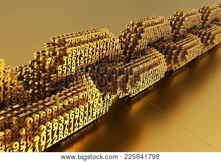 Concept Of Blockchain. Gold Digital Chain Of Interconnected 3d Numbers. 3d Illustration.