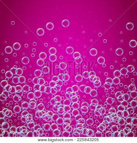 Shampoo Foam In Floating With Realistic Water Bubbles On Pink Background. Cleaning Liquid Soap Foam