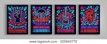 Rock Festival Set Of Posters In Neon Style. Collection Neon Sign, An Invitation To The Concert Broch