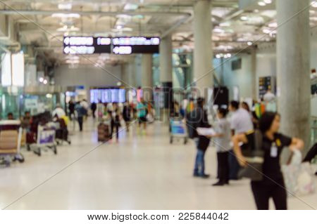 Blurry Focus Peoples In Gate Waiting For Them Flight Inside The International Airport, Traveler On B
