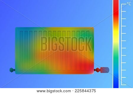 Steel Panel Radiator Vector Illustration. Equipment For Heating A Thermal Imaging Camera. The Concep