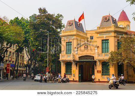 Hanoi, Vietnam - Mar 15, 2015: Exterior Facade View Of Public Govement Administrative Building.