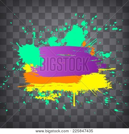 Modern Colorful Grunge Splashes And Splatters Frame  On A Chequered Background.