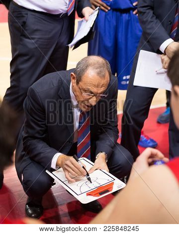 Samara, Russia - December 01: Bc Cska Head Coach Ettore Messina During A Timeout Of The Bc Krasnye K