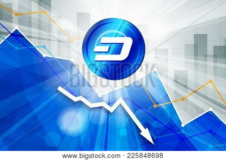 Dash Cryptocurrency In The Bright Rays On Background With Statistics Chart And Arrow Going Down