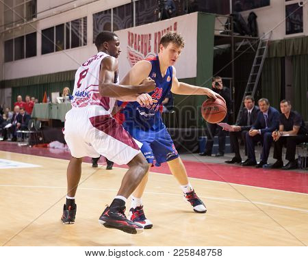 Samara, Russia - December 01: Bc Cska Forward Andrey Vorontsevich #20 With Ball Tries To Go Past A B