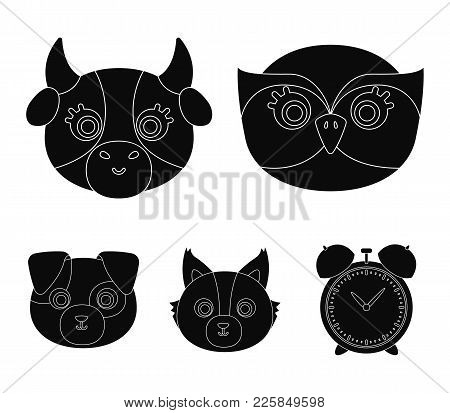 Owl, Cow, Wolf, Dog. Animal's Muzzle Set Collection Icons In Black Style Vector Symbol Stock Illustr