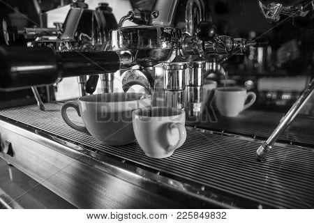 Coffe Machine, Close Up, Black And White