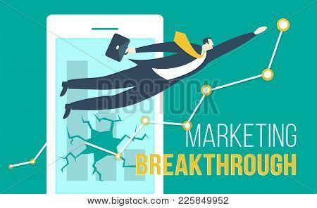 Ecommerce Concept Breakthrough Smartphone With Businessman Super Hero