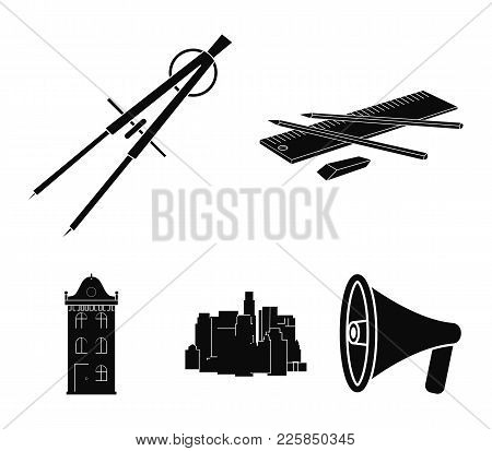 Drawing Accessories, Metropolis, House Model. Architecture Set Collection Icons In Black Style Vecto