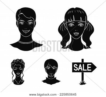 Different Looks Of Young People.avatar And Face Set Collection Icons In Black Style Vector Symbol St