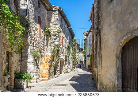 Aigueze, France - April 28, 2016: The Street Of The Village Of Aigueze, A Small Village Located Sout