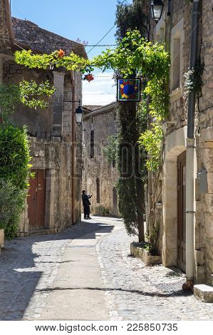 The Street Of The Village Of Aigueze, A Small Village Located South Of France In The Department Of G