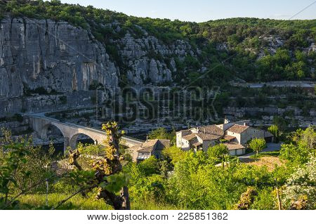 Balazuc Is A French Commune In The Ardeche Department In The Auvergne-rhone-alpes Region Of Southern