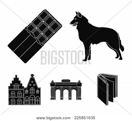 Chocolate, Cathedral And Other Symbols Of The Country.belgium Set Collection Icons In Black Style Ve