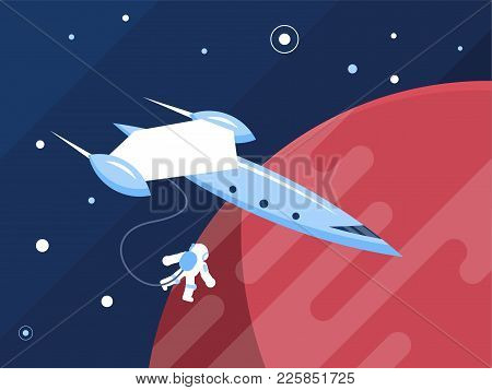 Cartoon Spaceship With An Astronaut Planets Stars And Space Background
