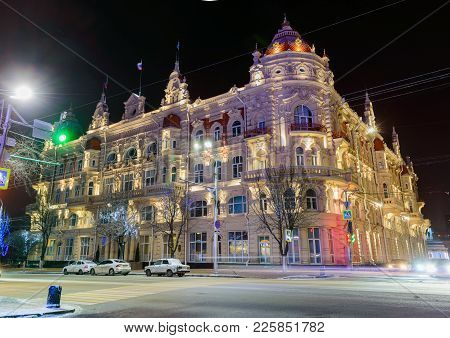 Rostov-on-don, Russia, January 24, 2018: The Building Of The Rostov-on-don City Duma. Night View Of