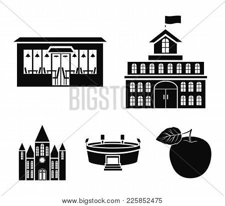 House Of Government, Stadium, Cafe, Church.building Set Collection Icons In Black Style Vector Symbo