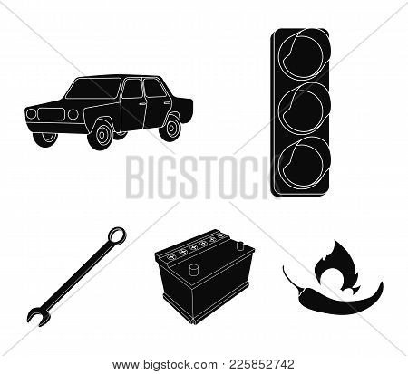 Traffic Light, Old Car, Battery, Wrench, Car Set Collection Icons In Black Style Vector Symbol Stock