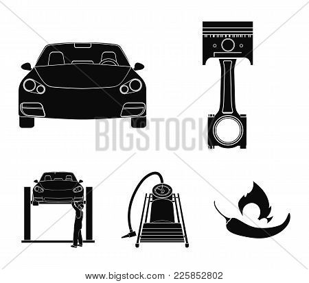 Car On Lift, Piston And Pump Black Icons In Set Collection For Design.car Maintenance Station Vector