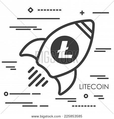 Flat Line Art Concept Illustration Of Spaceship With Litecoin Cryptocurrency Icon