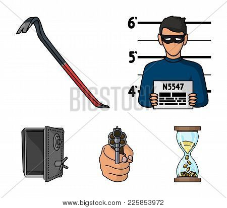 Photo Of Criminal, Scrap, Open Safe, Directional Gun.crime Set Collection Icons In Cartoon Style Vec
