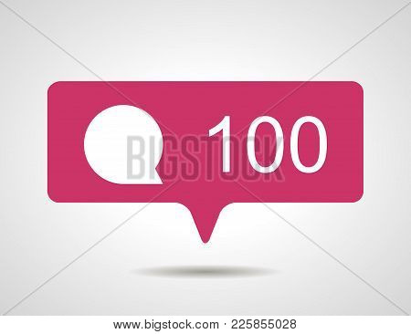 Illustration Of Flat Pink Hundred Like Comment Social Media Icon On Grey Background