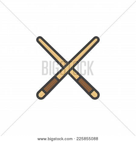 Pool Cue Filled Outline Icon, Line Vector Sign, Linear Colorful Pictogram Isolated On White. Billiar