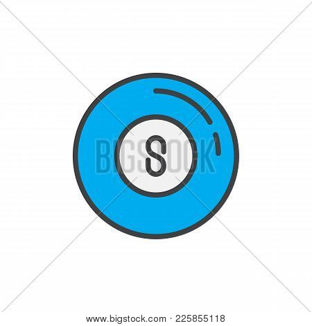 Pool Ball Filled Outline Icon, Line Vector Sign, Linear Colorful Pictogram Isolated On White. Billia