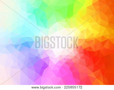 Spectrum Polygon Background Or Vector Frame. Rainbow Multicolor