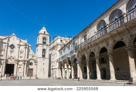 Panoramic Of Plaza De La Cathedral In Old Havana With The Baroque Architecture Of San Cristobal Cath