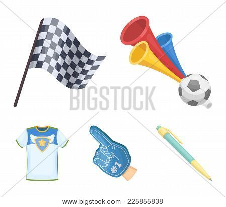Pipe, Uniform And Other Attributes Of The Fans.fans Set Collection Icons In Cartoon Style Vector Sym