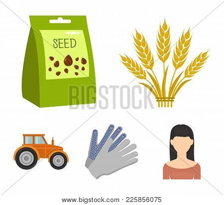 Spikelets Of Wheat, A Packet Of Seeds, A Tractor, Gloves.farm Set Collection Icons In Cartoon Style