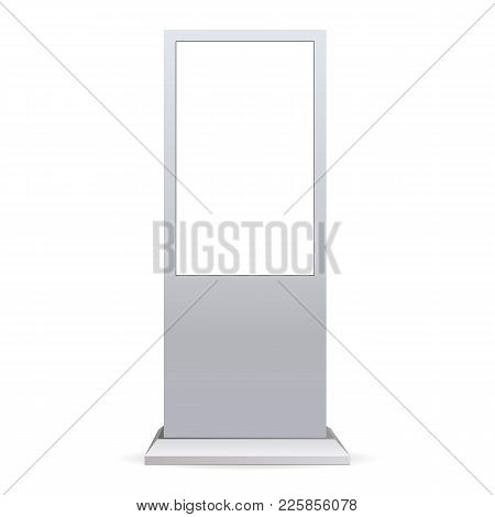 Outdoor Touch Screen Kiosk Isolated On White Background. Stand Digital Signage With Blank Screen. Ve